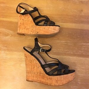 ALDO Black Leather T-Strap Cork Wedge